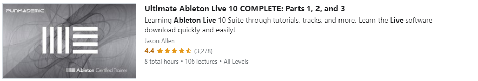 """Preview of Udemy """"Ultimate Ableton Live 10 COMPLETE: Parts 1, 2, and 3"""" course"""