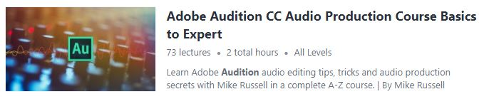 Adobe Audition course from Udemy screenshot.