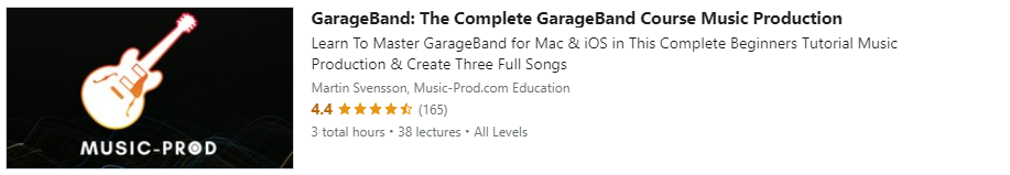 """Preview of Udemy """"GarageBand: The Complete GarageBand Course Music Production"""" course"""