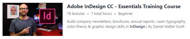 """Preview of Udemy """"Adobe InDesign CC"""" course"""