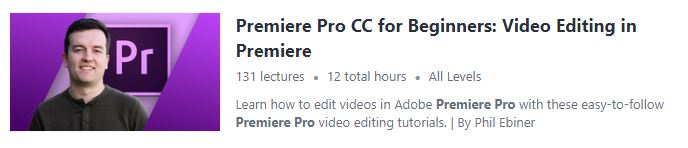 Premiere Pro course from Udemy screenshot