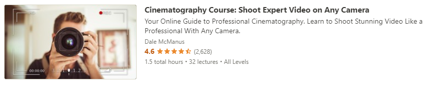 """Preview of Udemy """"Cinematography Course"""" course"""