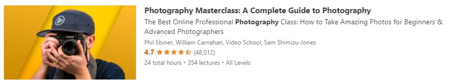 """Preview of Udemy """"Photography Masterclass"""" course"""