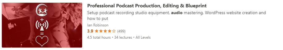 """Preview of Udemy """"Professional Podcast Production"""" course"""