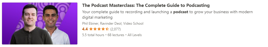 """Preview of Udemy """"The Podcast Masterclass"""" course"""