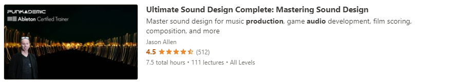 """Preview of Udemy """"Ultimate Sound Design"""" course"""