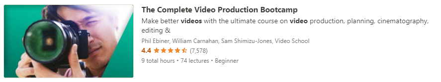 """Preview of Udemy """"The Complete Video Production Bootcamp"""" course"""