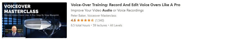 """Preview of Udemy """"Voice-Over Training"""" course"""