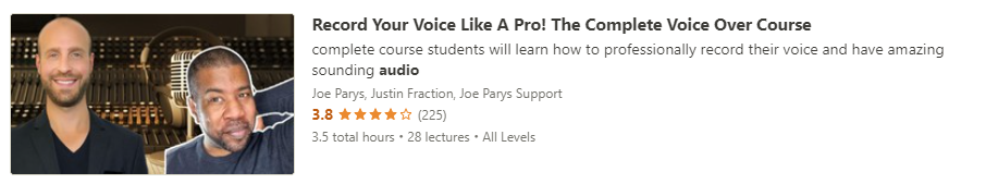 """Preview of Udemy """"Record Your Voice Like A Pro"""" course"""