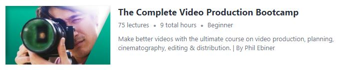 Videography course from Udemy screenshot.