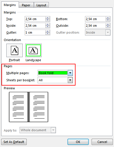 Microsoft Word formatting for zines screenshot