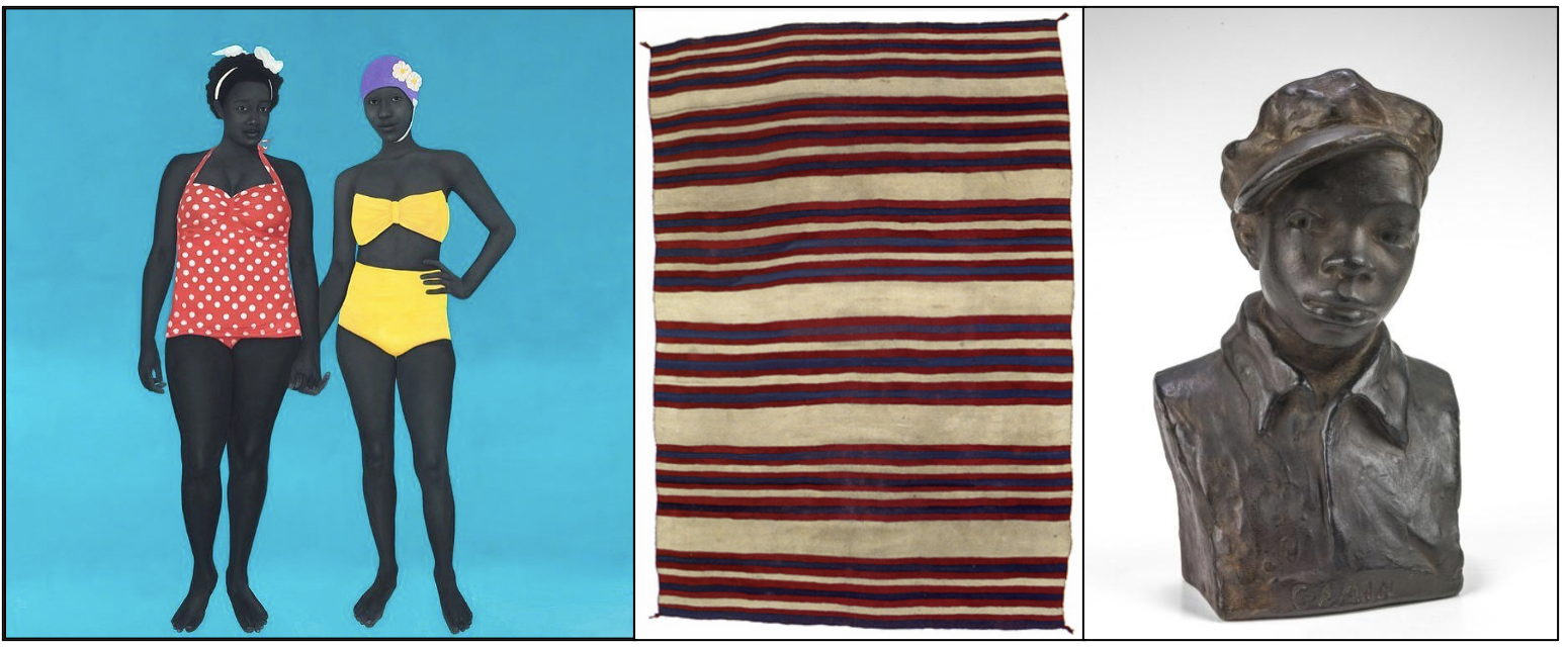 image of a painting, image of fabric, image of sculpture
