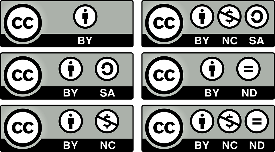 "An image of six Creative Commons licenses and their permissions. The ""CC"" appears in black letters against a white background, in a black circle, in each box. The individual permissions (BY, NC, SA, ND) also appear as black symbols against a white background, in a black circle."