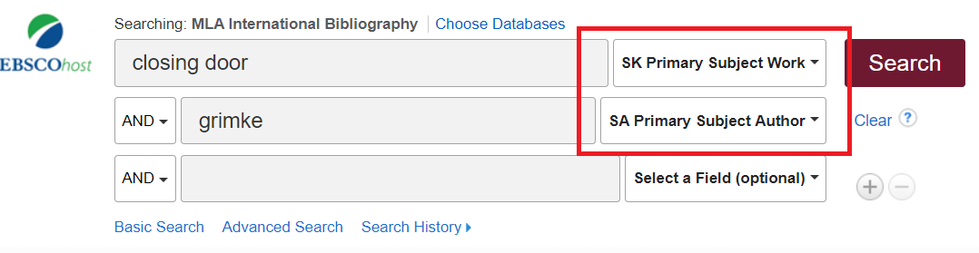 Screenshot of the search bars in MLA International Bibliography, with the dropdown menus next to the search bars outlinedin a red square