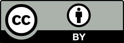 """The Creative Commons CC-BY license, featuring the letters """"CC"""" in black font, against white background, inside a black circle. There is a black outline of a human figure, against white background, inside a black circle. Beneath the human figure, the words """"BY"""" appear in white against black background."""