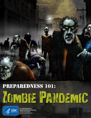 A crowd of zombies in a darkened street with graphic novel title and CDC logo.