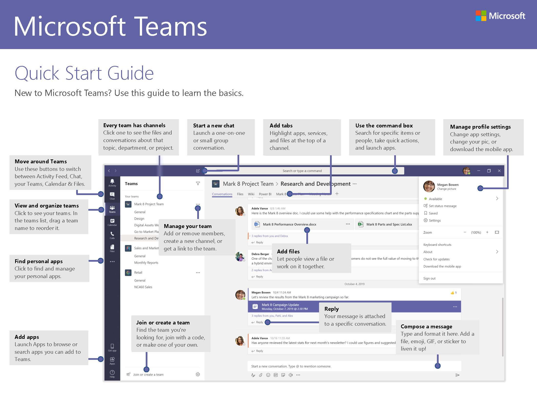 Microsoft Teams Quick Start Guide Page 1