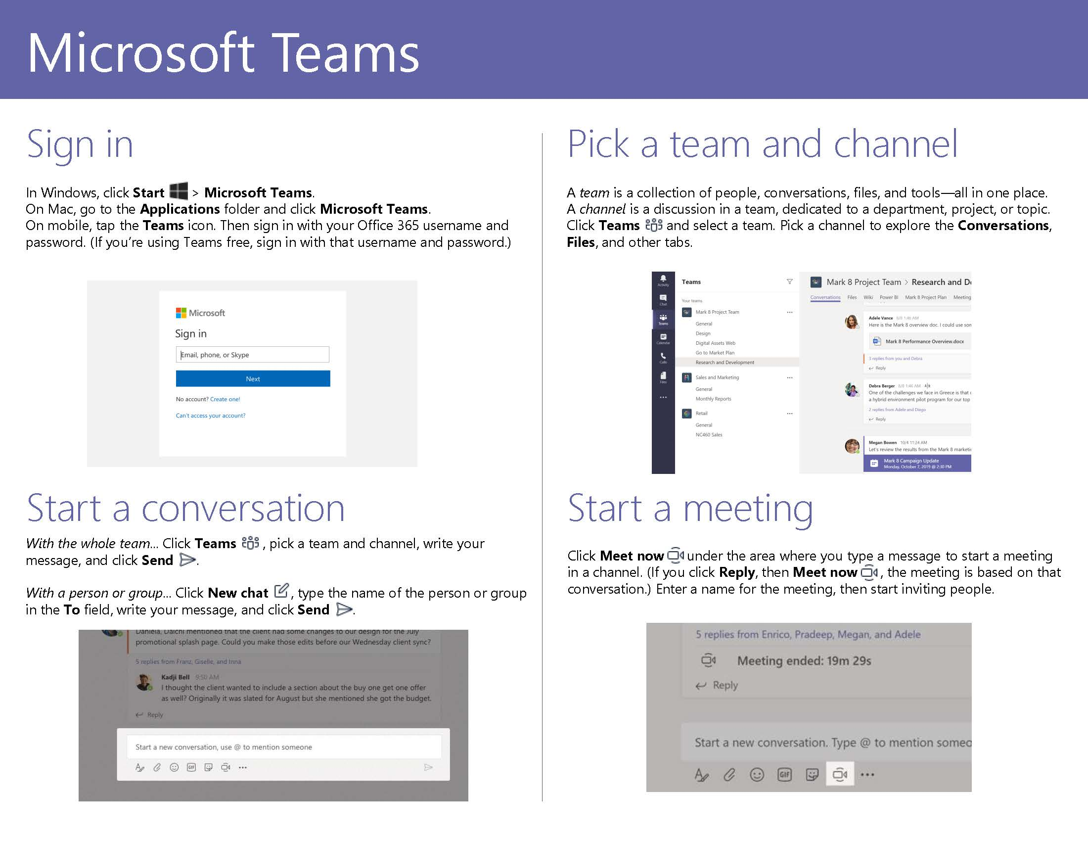 Microsoft Teams Quick Start Guide Page 2