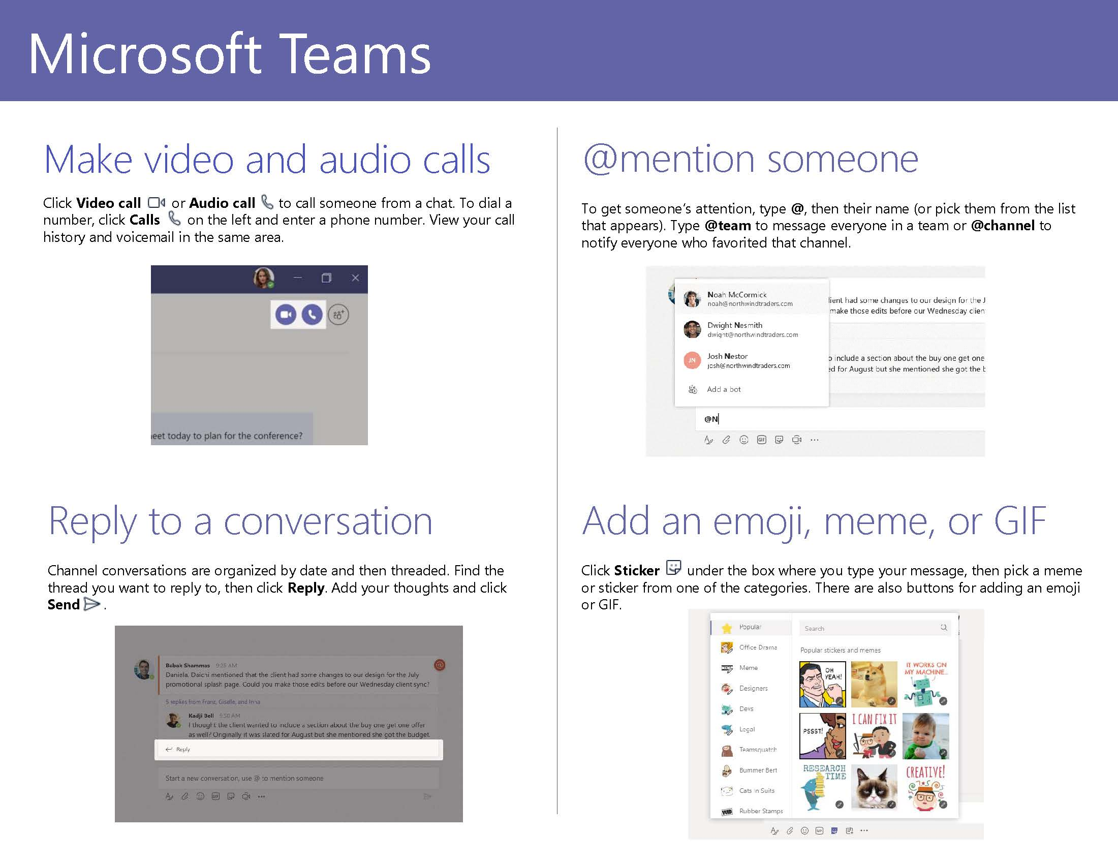 Microsoft Teams Quick Start Guide Page 3