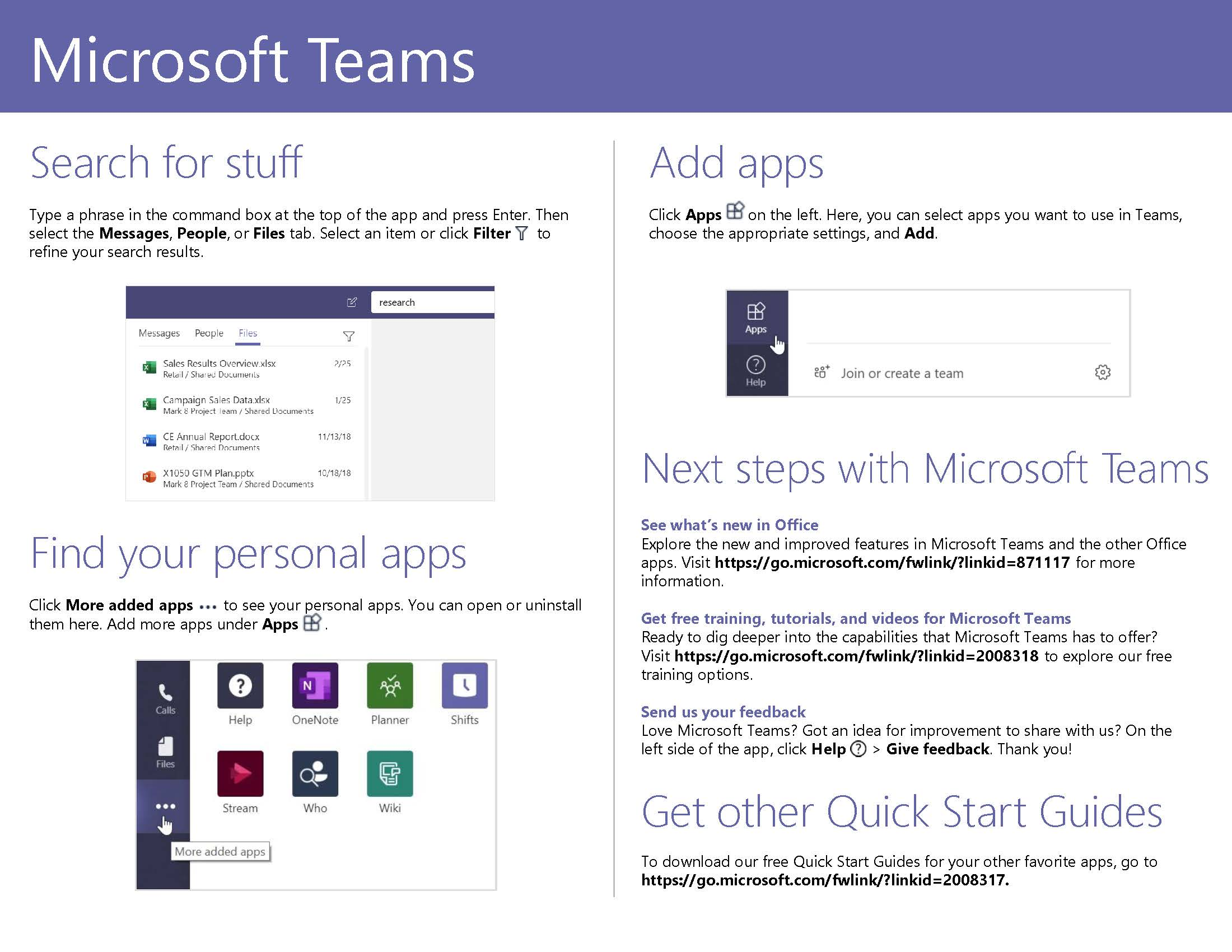 Microsoft Teams Quick Start Guide Page 5