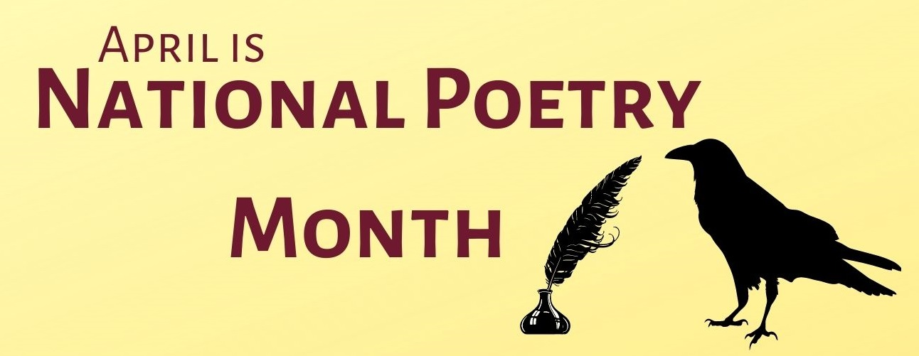 National Poetry Month graphic with quill and raven