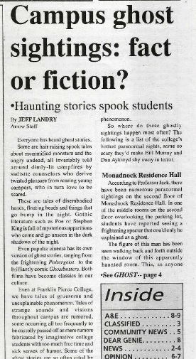 A clipping from a 1997 student newspaper about campus ghost sightings.