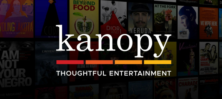 Kanopy logo over banner image of film titles
