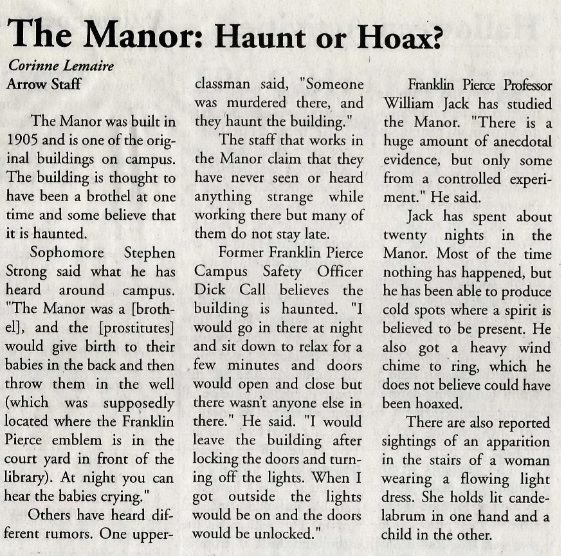 "A clipping from a 2003 issue of student newspaper Pierce Arrow with headline: ""The Manor: Haunt or Hoax?"""