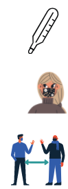 Thermometer, face mask, and social distance icons