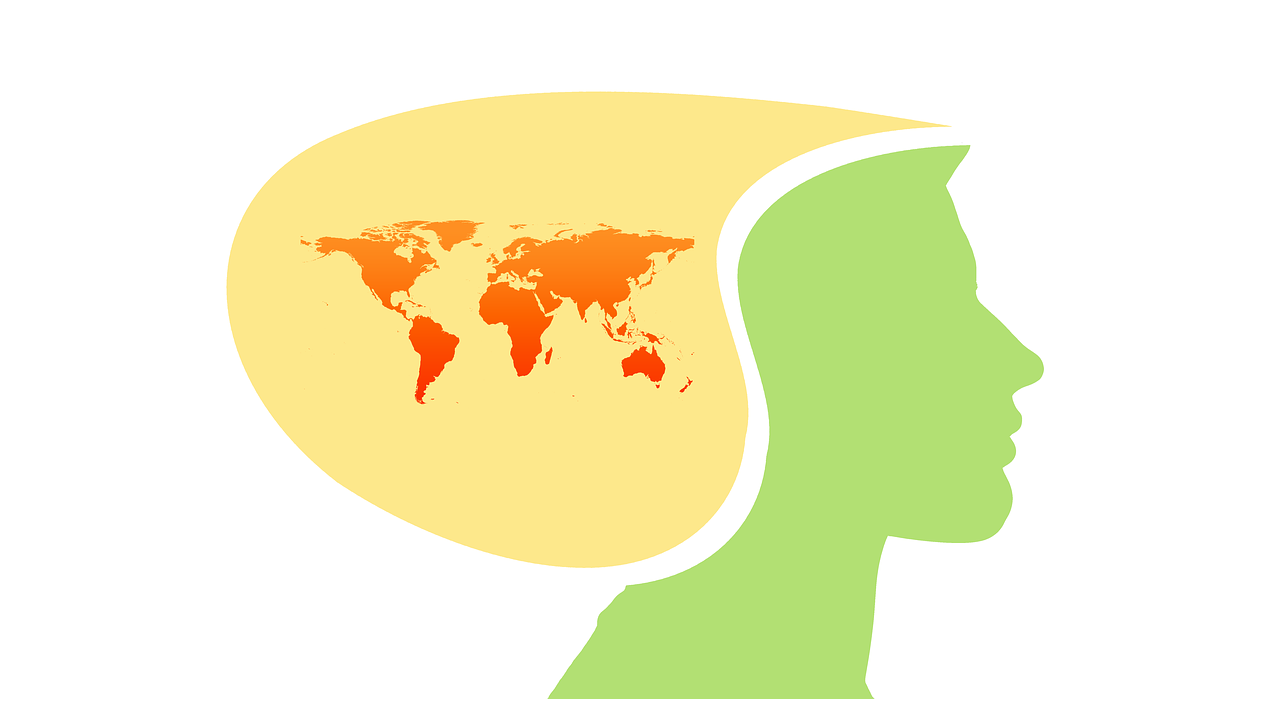 Drawing of a person with map of the world in their brain