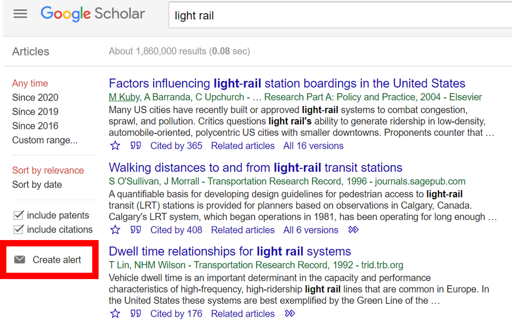 screenshot of how to create an alert using Google Scholar