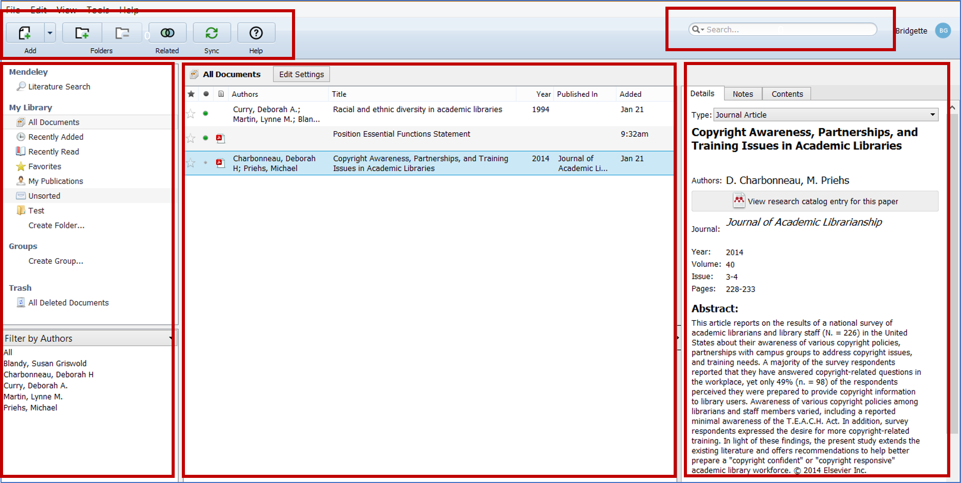 Screenshot of the five main sections of Mendeley Desktop