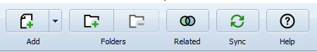 screenshot of the top toolbar in mendeley desktop