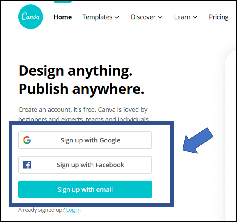 Homepage for Canva. An arrow points to where users can sign up for an accunt