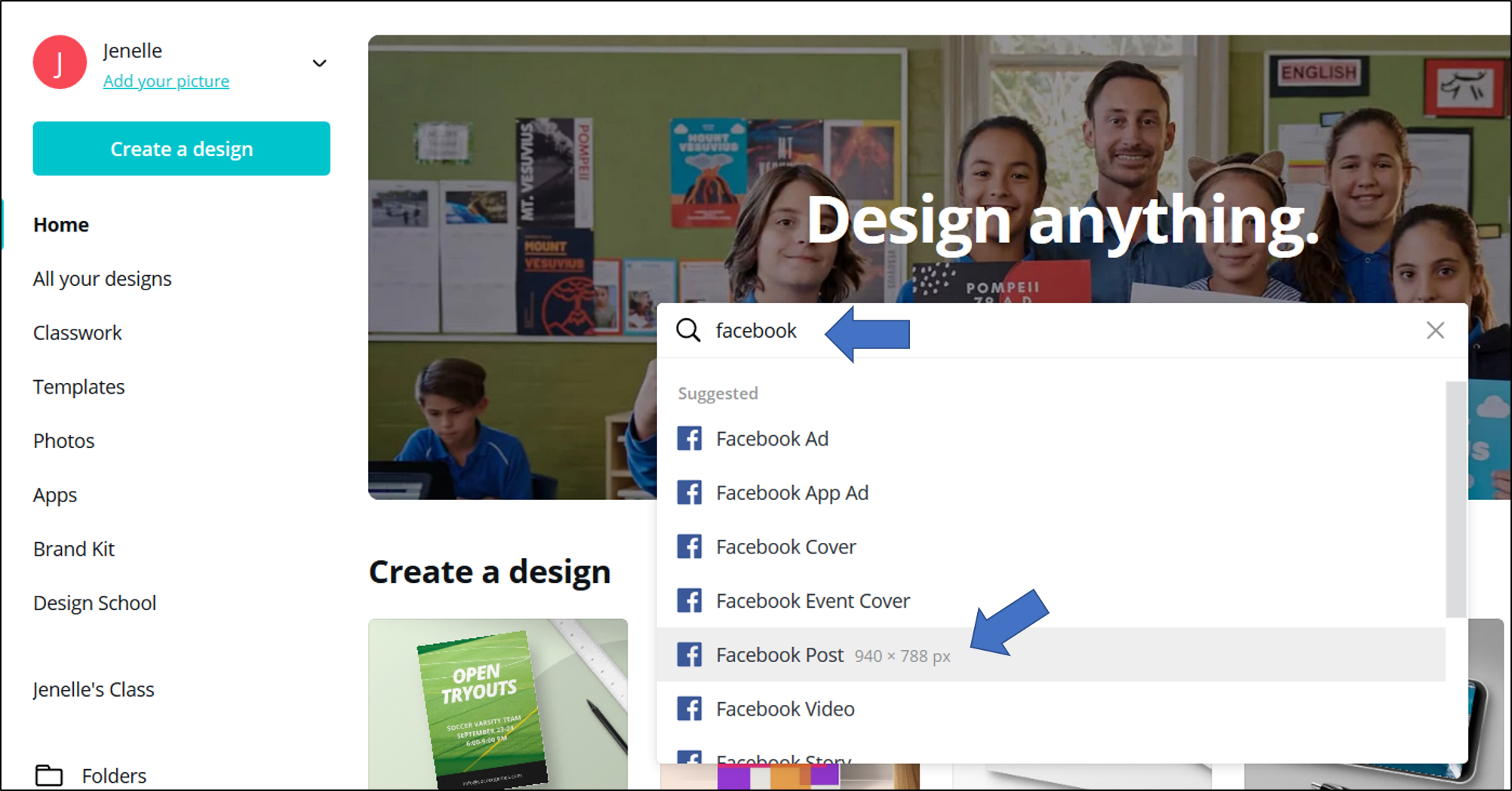 A search for Facebook within Canva