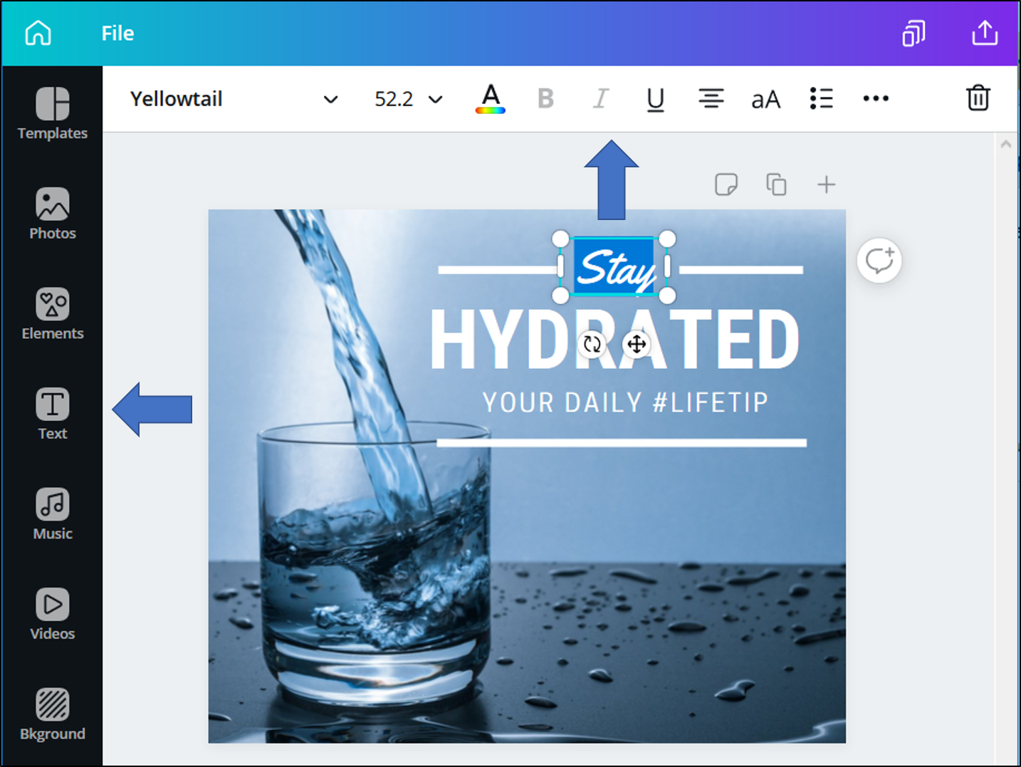 Design editor within Canva. Arrows are pointing to the text editor bar at the top and to the icon for additional textboxes on the left