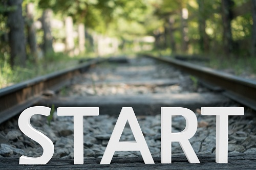 train tracks. Text: start. links to getting start with IRB