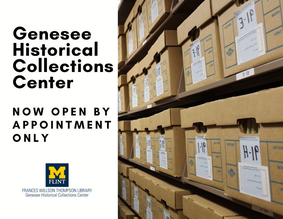 now open by appointment only in black text on white background, photo of archival boxes