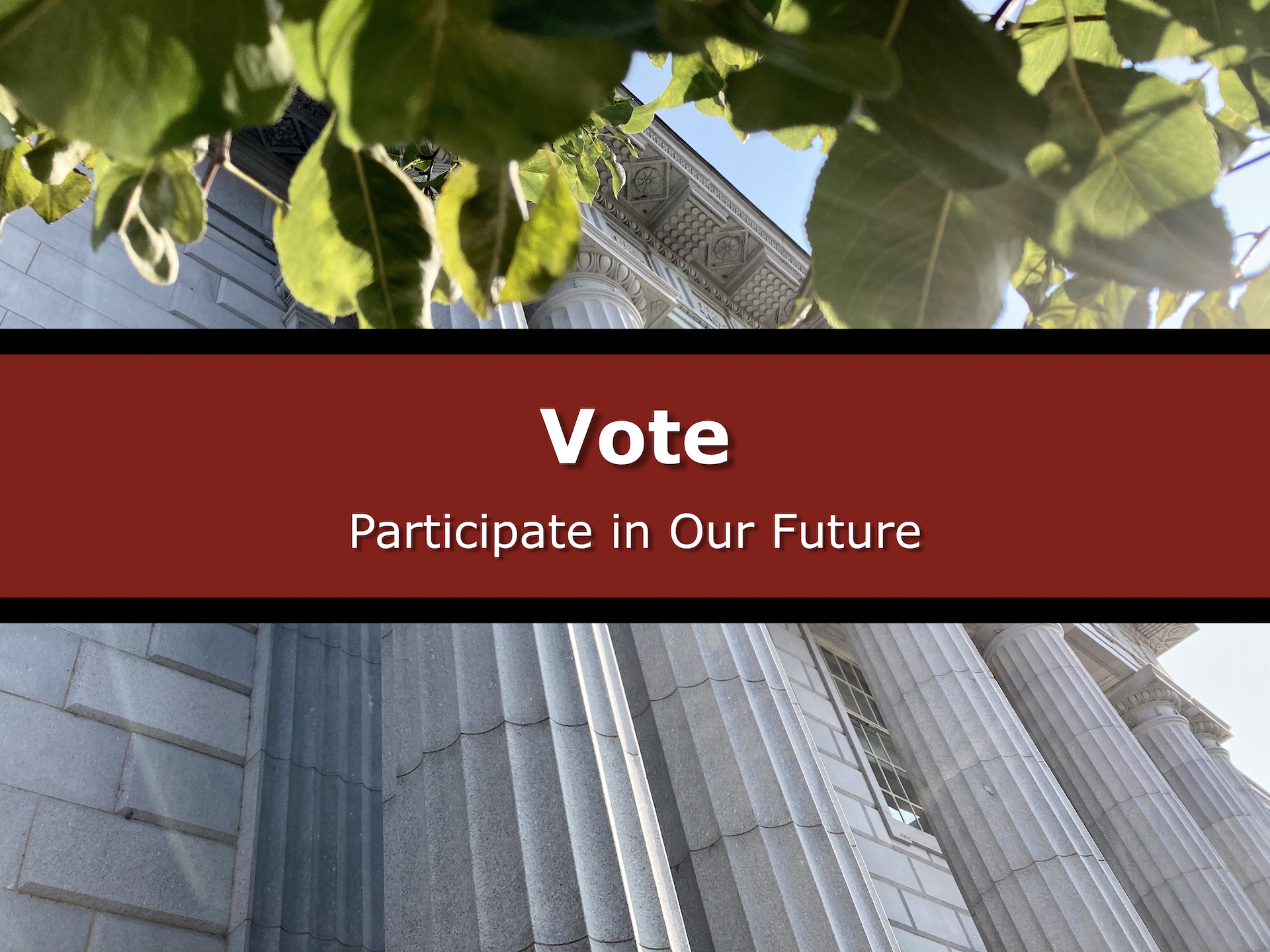 "Image Button of front of Federal Building with wording ""Vote: Participate in Our Future"""