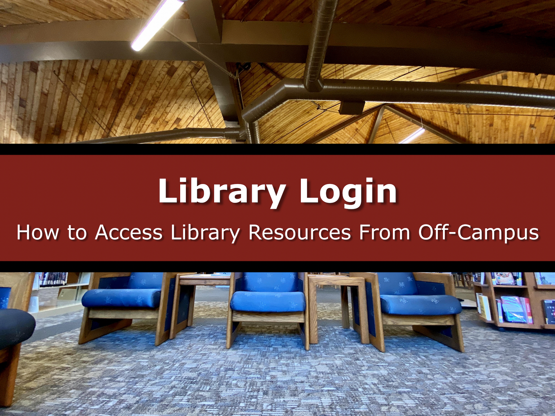 "Image Button of Bedford Library Serials Lounge with text: ""Library Login: How to Access Library Resources from Off-Campus"