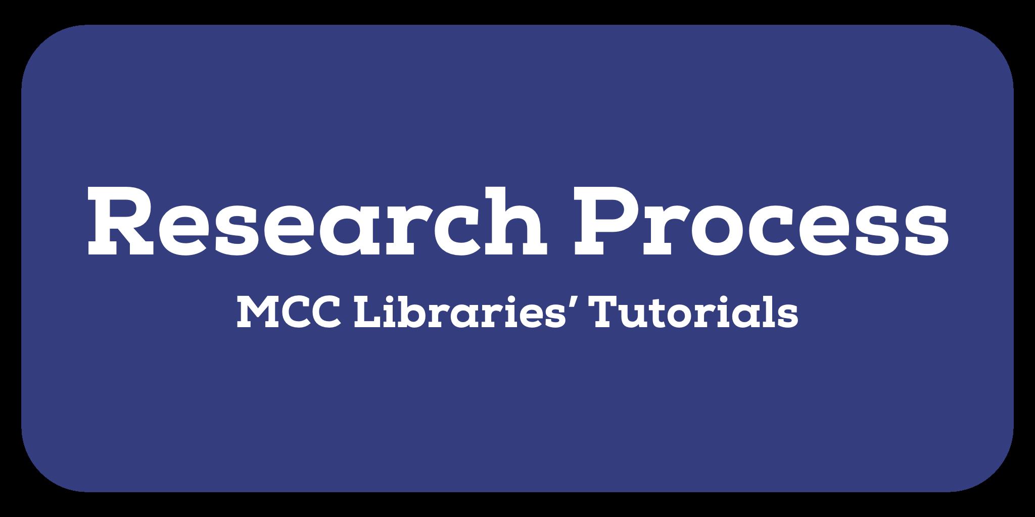 Research Process: MCC Libraries' Tutorials