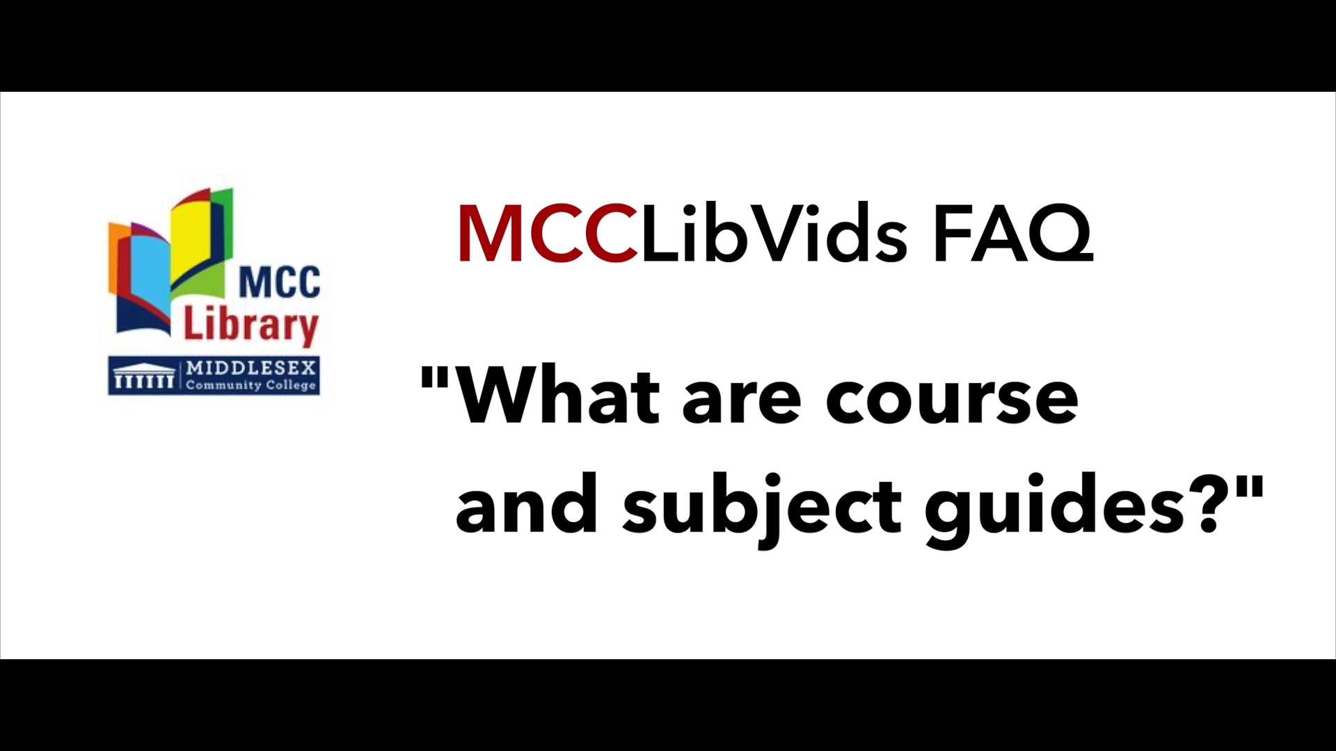 Button with link to video: What are course and subject guides?