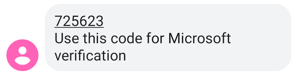 Unique code sent as a text