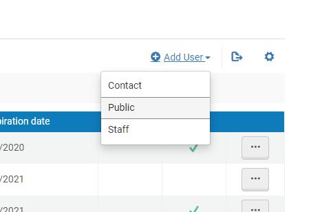 A screenshot of the Add User button in Alma