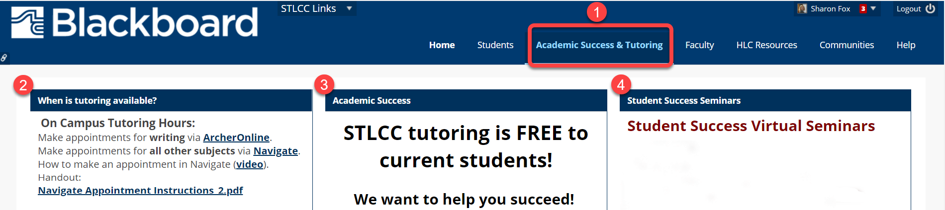 Academic Success and Tutoring page in Blackboard