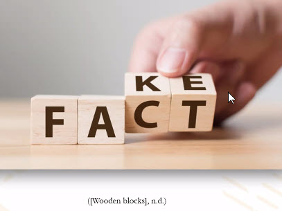 wooden blocks that show the letters for Fact and Fake