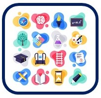 Box with icons related to teaching