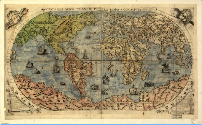 Image of 1560's Map of the World based upon previous by Giacomo Gastaldi held by the Library of Congress