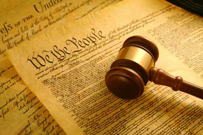 image of Declaration of Independence and judge's gavel