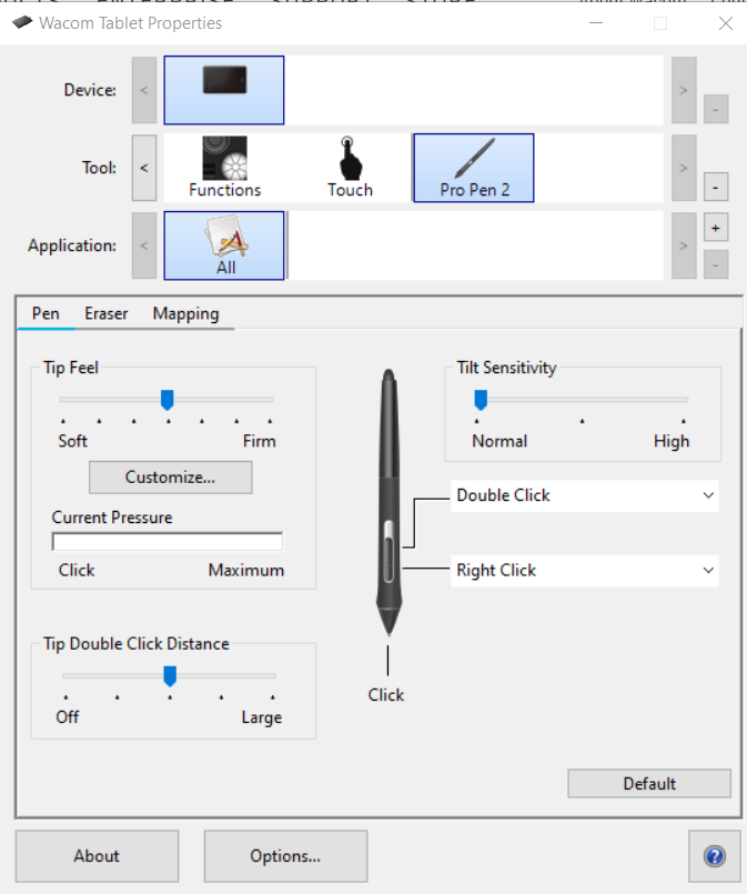 Screenshot of the Wacom settings